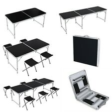 4/6FT Black Folding Table Portable Outdoor Garden Picnic Party Table Adjustable