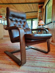 Sessel Leder Vintage 60er Easy Chair Danish Freischwinger Westnofa Ära 70er