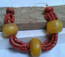 jewelry tribal berber Coral beads Moroccan amber resin necklace handmade african