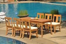 "7pc Grade-A Teak Dining Set 71"" Rectangle Table 6 Osborne Armless Chair Outdoor"