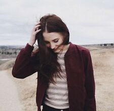 New! Brandy Melville Maroon Cotton kasey bomber jacket Zip Up NWT