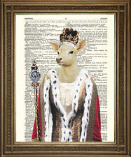 "ROYAL DEER PRINT: Vintage White Hart Queen, Fun Dictionary Art (10x8"")"