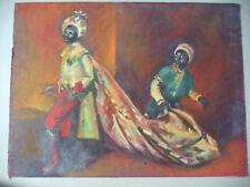Vintage Art Gouache Watercolor Andre Delfau Listed Artist MCM Black Male Figures
