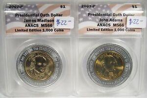 2007-P Presidential Encasement Dollars Adams & Madison ANACS MS66 Coins AG200