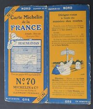 Carte MICHELIN old map n°70 BEAUNE EVIAN 1927 Guide Bibendum pneu tyre