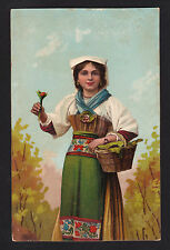c1910 Stengel art Woman in ethnic costume carrying basket postcard