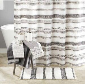 GEO STRIPE Shower Curtain Boho Black Aztec design SKL Saturday Knight LTD