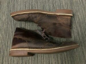 Clarks Bushacre Mens 9M Brown Leather Chukka Desert Boots Lace Up