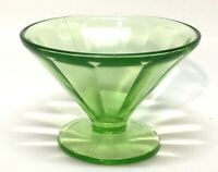 Vintage Vaseline Federal Glass Uranium Green Sundae Dish Dessert Cup EUC