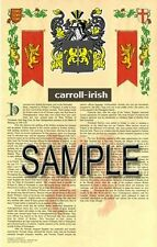 CARROLL Armorial Name History - Coat of Arms - Family Crest GIFT! 11x17