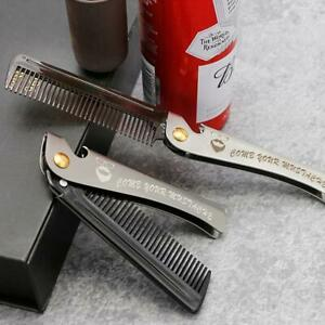 Steel Beard and Mustache Comb Folding Fine Pocket Comb New R2Z6