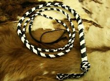 HEAVY DUTY BULL WHIP HUNTER BLACK AND WHITE PU LEATHER 8 FOOT LONG BRAND NEW