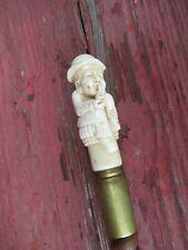 Vintage Collectible Bone Walking Stick / Cane Man Smoking Pipe