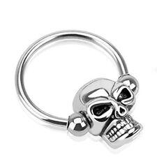 14G Gauge Stainless Steel Skull Captive Bead Ring Daith Cartilage Earring Nipple