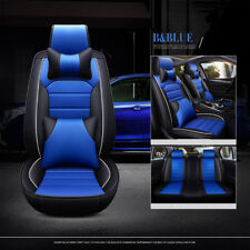 Full Set Universal Car Seat Cover 5-Seat Cushion Pu Leather w/ Neck Pillows Blue