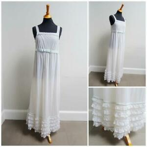 Vintage 1960s Night Gown Dress St Michael Layered White Nylon Lace Ladies 60s