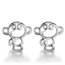 Korean Fashion Ladies 925 Sterling Silver Cute Monkey Simple Ear Stud Earrings