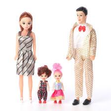 4Pcs Feliz Familia Barbie Top Muñecas Juguetes Papá Mamá Bebé Niños Regalo