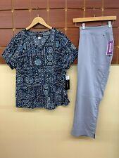 New Gray Print Scrubs Set With Koi 2Xl Top & Healing Hands 2Xl Petite Pants Nwt