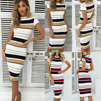 Women Short Sleeve Bodycon Stripe Dress Lady Summer Casual Midi Long Shirt Dress