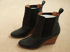 BRAND NEW Vanessa Bruno Athe Leather Wedge Boots, Black, Size 38/5 (with box)