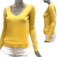 Molly Bracken Maglione Donna Pull Giallo Maglia Estiva Manica Lunga Sweater