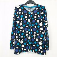 Hobbs Black White & Blue Polka Dot Spotty Button Down Cardigan UK size 12