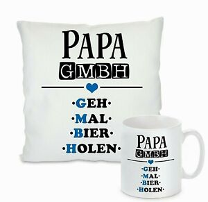Kissen oder Tasse - Papa GmbH Geh mal Bier holen - cooles Geschenk Vatertag