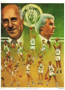CELTICS 1988 1989 Boston Celtics Basketball TEAM ROSTER Citgo Poster 10.5x12.5