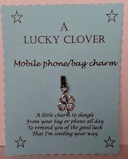 Lucky Clover Keyring Charm, Mobile Phone, Handbag Charm Bingo  iPhone Smartphone