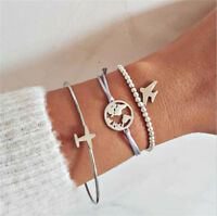 Fashion Women 3Pcs World Map Plane Adjustable Open Bangle Gold Bracelet Jewelry