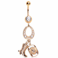 Gold Plated Gemmed Cowgirl Charm Dangle Navel Ring (Default Title, Gold)