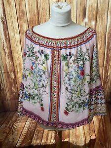 Umgee Womens Medium Top Pink Floral Print BOHO Blouse Bell Sleeves