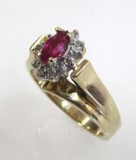 10K YELLOW GOLD MARQUISE SYNTHETIC RUBY SOLITAIRE RING SIZE 5.5 - 3gr