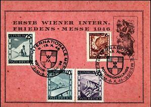 1946 Austria Vienna First International Peace Fair Souvenir Postcard SHS