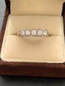 Ladies Antique / Vintage 18ct Yellow Gold Five Stone Diamond Ring Size O 1/2