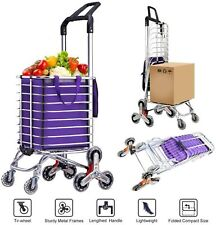 2 IN 1 Folding Shopping Cart Grocery Laundry Stair Climbing Handcart