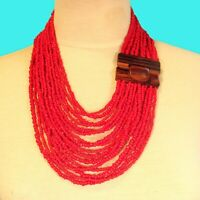 """24"""" Red Color Multi Strand Wood Buckle Waterfall Handmade Seed Bead Necklace"""