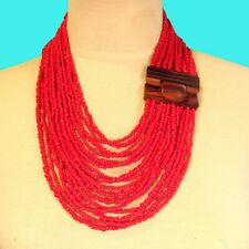 "24"" Red Color Multi Strand Wood Buckle Waterfall Handmade Seed Bead Necklace"