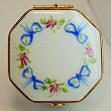 Limoges Hand Painted Hinged Trinket Pill Box - Octagon Shape with Blue Bows