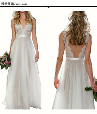 Lace Long Wedding Ball Gown Bridal Chiffon Beach formal graduation dresses
