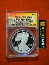 2012 S PROOF SILVER EAGLE ANACS PR70 DCAM FIRST DAY ISSUE FROM SAN FRANCISCO SET