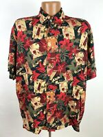 Vintage Hula Girl Hawaiian Shirt Men's Large Black Red Floral Hibiscus All-Over