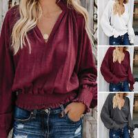 Women Casual Oversize Long Lantern Sleeve Shirt Tops Elastic Crop Tops Blouse