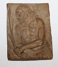 Antique Bas-Relief Plaque Man of Sorrows Christ Signed Superb Detail