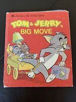 """1985 Tom & Jerry Big Movie Vintage A Golden Tell-A-Tale Book 5.5"""" X 6.5"""" HC"""