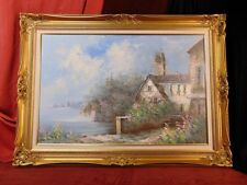Fine Art Painting QUAINT SEASIDE VILLA PENSIONE Gilt Wood Frame Signed MABRY P18
