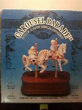 """NIB, """"IMPULSE GIFTWARE CAROUSEL PARADE WITH TWO HORSE MOVEMENT MUSIC BOX"""""""