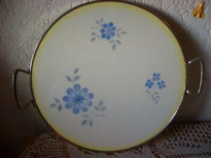 Alte  Kuchenplatte aus Porzellan und Metall, ca. 50er - 60 Jahre