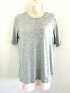 VINCE DOUBLE LAYERED HEATHER GRAY/PINK SHORT SLEEVE T SHIRT TOP WOMENS SIZE XS